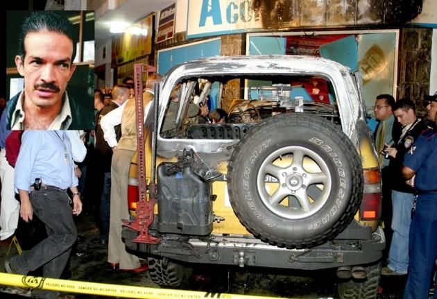 Foto del fiscal Danilo Anderson y una imagen del estado en que quedó su automóvil (ARCHIVO)